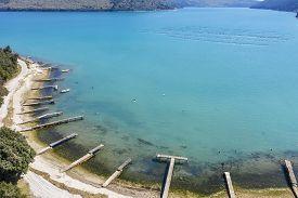 An Aerial View Of Blaz Bay, Beautiful Place In Rasa Bay, Istria, Croatia