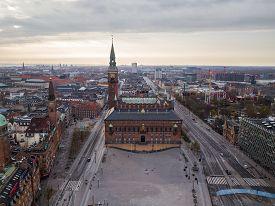 Copenhagen, Denmark - April 12, 2020: Aerial Drone View Of Copenhagen Town Hall.