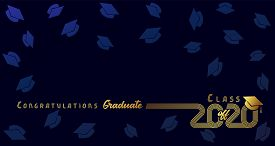 Class Off 2020, Congratulation Graduate, Gold Lines Design. Vector Graduation Illustration 2020 In G