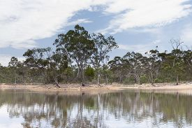 Drought Affected Water Reservoir In Outback Australia
