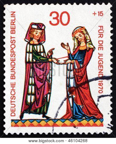 Postage Stamp Germany 1970 Burkhart Von Hohenfels, Minnesinger