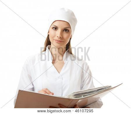 woman doctor or nurse with folder, isolated on white background