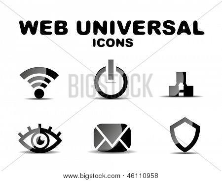 Black vector glossy web universal icon set