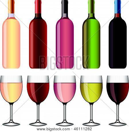 wine and wineglasses illustration set
