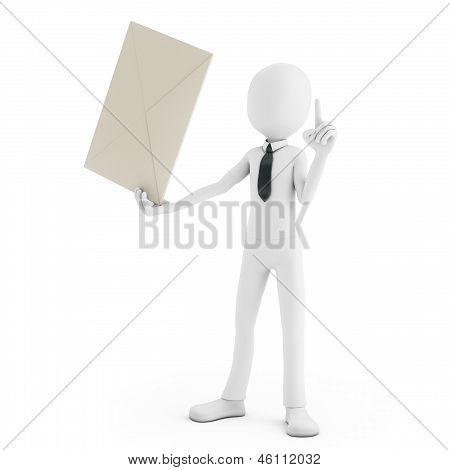3D Man Holding An Envelope