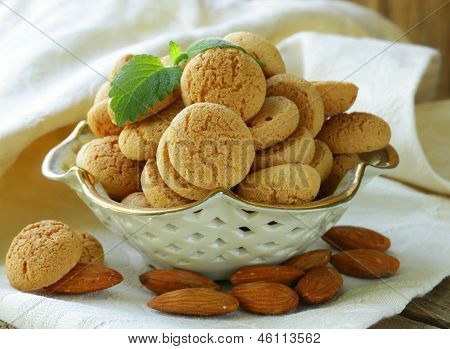 sweet almond cookies biscuits (amaretti) on the table