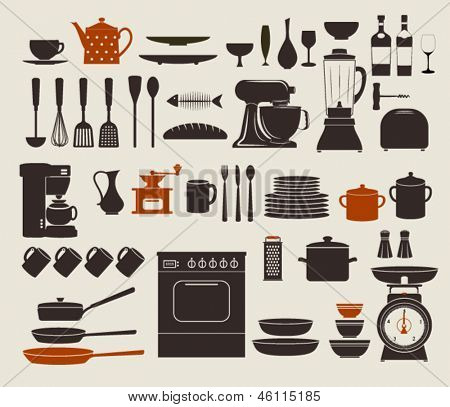 Kitchen Appliances, Utensils and Icons - Set of kitchen icons, including stove, pots, frying pens, bowls, dishes and various utensils