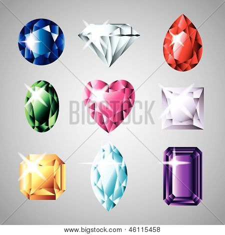 diamonds and gemstones colorful vector set