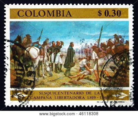 Postage Stamp Colombia 1969 Army Of Liberation Crossing Pisba Pa