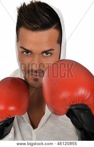 Young Caucasian Man Fighting