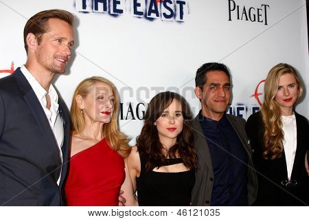 LOS ANGELES - MAY 28:  Alexander Skarsgard, Patricia Clarkson, Ellen Page, Zal Batmanglij, Brit Marling arrive at