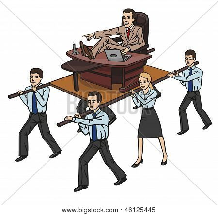 Boss commands a staff of office workers poster