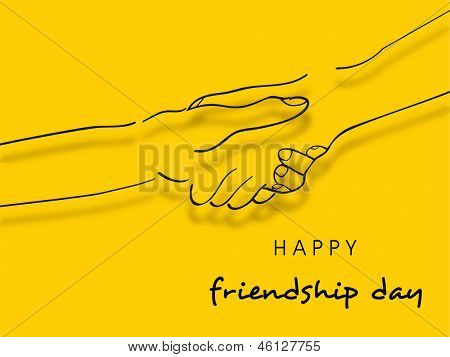 Happy Friendship Day concept with hands shaking illustration on yellow background.