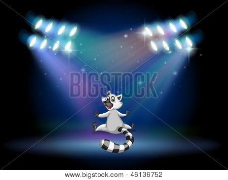 Illustration of a lemur in the middle of the stage
