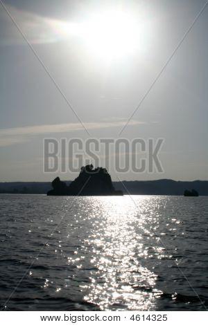 Sun Set Over Lake Nasser Desert Island Rock