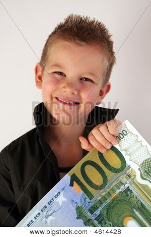 Little Child holding 100 Euro in the hands poster