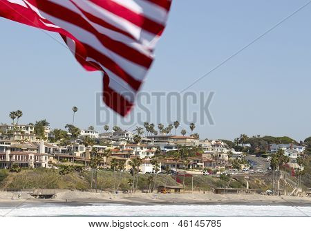 Flag waving with palm tree background