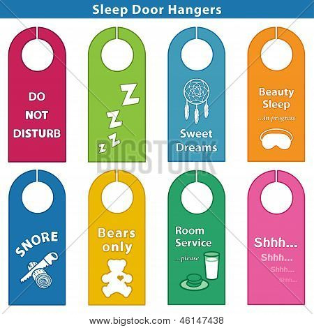 Sleep Bedroom Door Hanger Signs