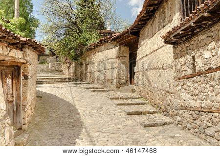 A Traditional Old Street In Koprivshtitsa Bulgaria, From The Time Of The Ottoman Empire