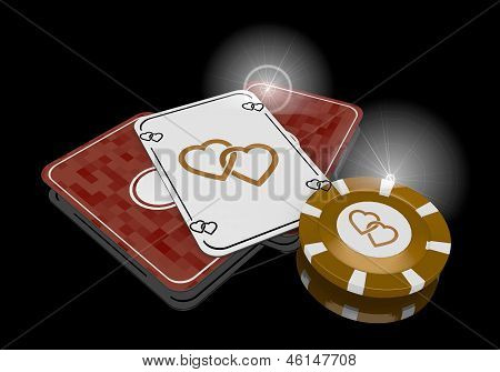 3d graphic of a golden two hearts symbol  on poker cards