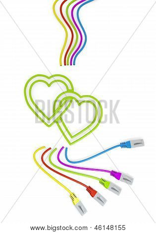 two hearts icon with colourful network cable