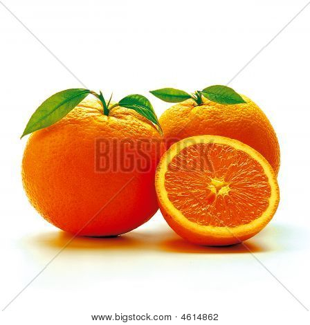 Two Oranges And A Sliced One