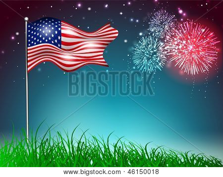 4th July, American Independence Day celebration background with waving flag and fire crackers.