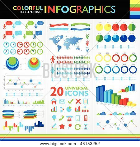Colorful Infographics Set And Vector Universal Icons.