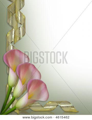 Calla Lilies Corner Gold Ribbon