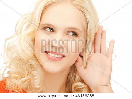 bright picture of smiling girl listening rumors