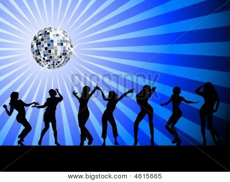 Silhouettes Of People Dancing On The Dancefloor