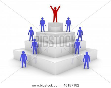 Social hierarchy. Leadership. Teamwork. Concept 3D illustration.
