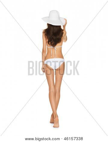 picture of model posing in white bikini with hat.
