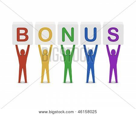 Men holding the word bonus. Concept 3D illustration.
