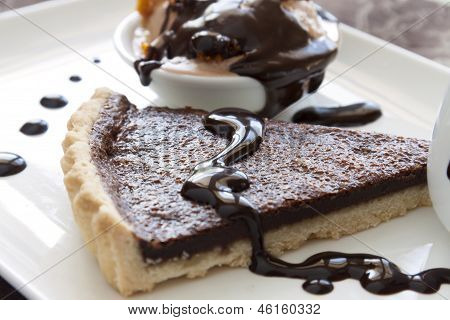 Tart Slice With Chocolate Sauce