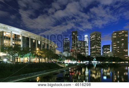 Los Angeles Financial District At Night