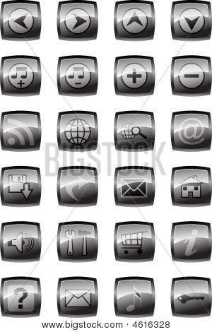Illustration Of Glossy Multimedia Icon Set