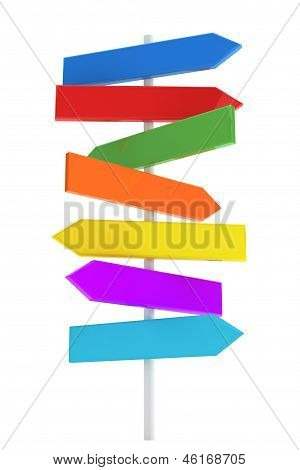 Color Direction Road Sign