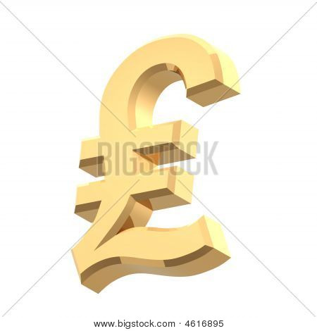 Gold Pound Sign Isolated On White.