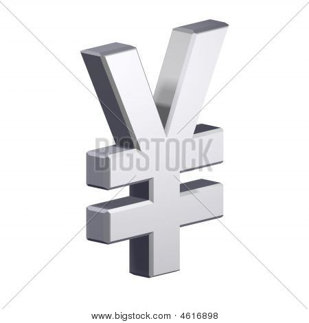 Chrome Yen Sign Isolated On White.