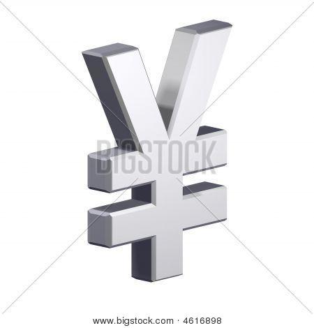 Chrom-Yen-Zeichen isoliert auf weiss.