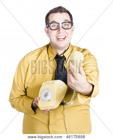 Excited Man Handing Over Telephone