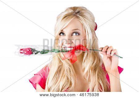 Woman With Rose Between Teeth