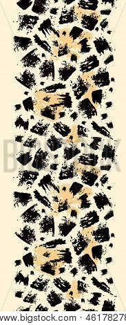 Vector animal brush stroke vertical seamless pattern background border with hand drawn elements poster