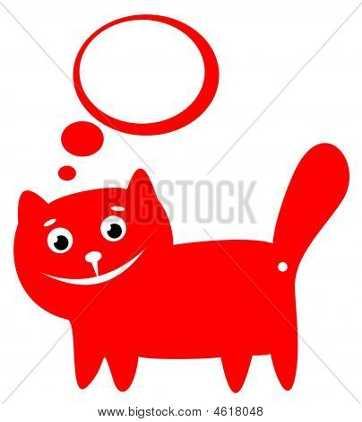 Cartoon red happy cat isolated on a white background. poster