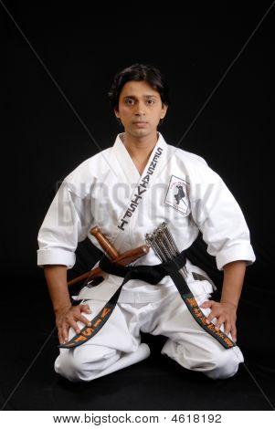 Martial Arts Master Preparing For A Karate Demonstration