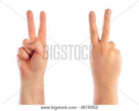 Male Hands Counting Number Two