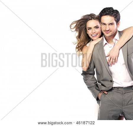 Happy young couple posing