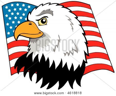 American eagles head with flag - vector illustration. poster