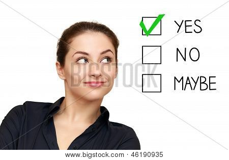 Business Woman Looking On Option And Select Yes Decision Isolated